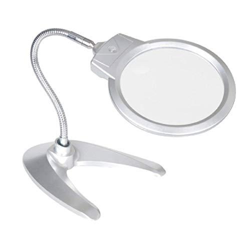 Glas 2X 6X Tischlupe - Klapphandfreie Lupe, 2 LED-Leuchten und übergroße Linse - Beste Lupe mit...