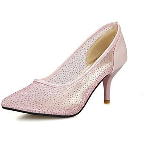 Mujer-Tacón Stiletto-Confort-Tacones-Vestido / Casual / Fiesta y Noche-Tul / PU-Negro / Rosa / Blanco