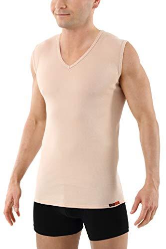 Albert Kreuz V-Unterhemd unsichtbar Business Herrenunterhemd aus 100% Bio-Baumwolle ohne Arm Hautfarbe 7/XL -