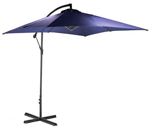habeig 2,5m Ampelschirm blau Sonnenschirm Kurbelschirm Schirm Gartenschirm ca. 250cm