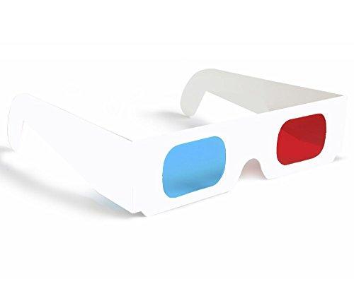 3D-Anaglyphenbrille, aus Pappe, Gläser Rot / Cyanblau, Gestell Weiß, 100 Stück
