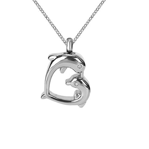 elry Dolphin Kiss Heart Urn Ashes Necklace Memorial Keepsake Pendant by ZARABE ()