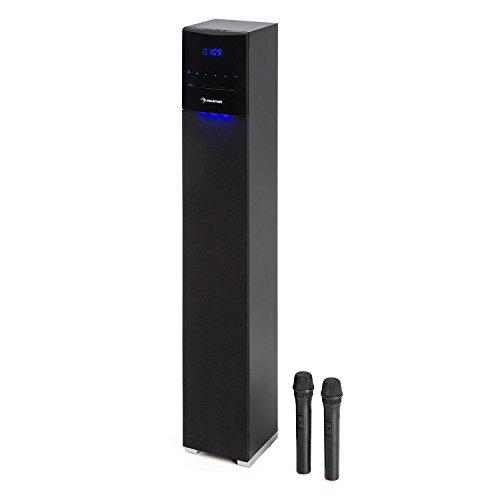 auna Tallboy Altavoz de torre • Karaoke con Bluetooth • Altavoces HiFi • Reproductor CD • Puerto USB • Ranura SD • Entrada AUX • Compatible MP3 • 2 x micrófonos inalámbricos • Control remoto • Negro