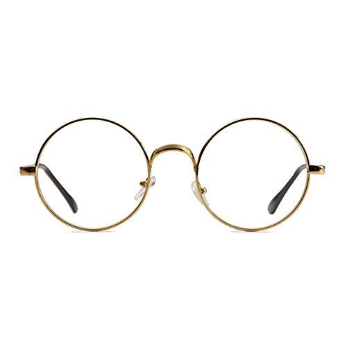 Gaodaweian Runde Retro Brille Metallrahmen klare Linse Vintage Plain Brille Eyewear Geek Brille Decor Brillen für Männer und Frauen - Silber (Color : Gold)