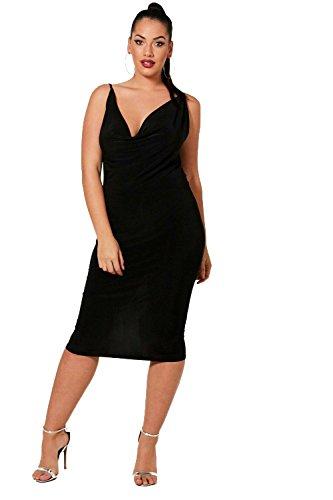 Schwarz Damen Plus Gabby Drape Front Cross Strap Dress - 16 (Mini Drape-front)