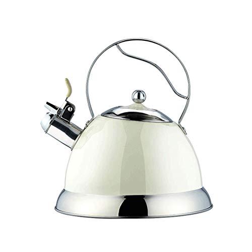 JXLBB Fischietto per acqua aperta a grande capacità 3L Bollitore per fischietto a casa Bianco latte 304 Fornello a induzione fornello a gas in acciaio inox 304 Fornello a induzione universale