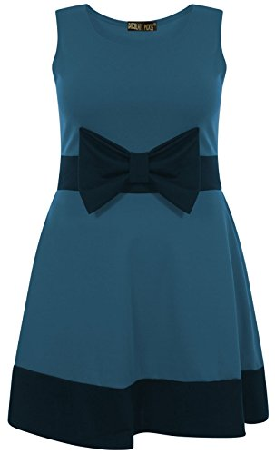 Chocolate Pickle ® Mesdames Contraste Couleur Bow Robe patineuse 36-50 Teal