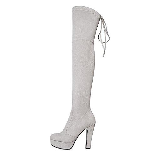 ENMAYER Femmes Nubuck Cuir Talons hauts Over-the-Knee Slip-on Platform Bottes en hiver massives Gris clair(Bloc 11.5cm)