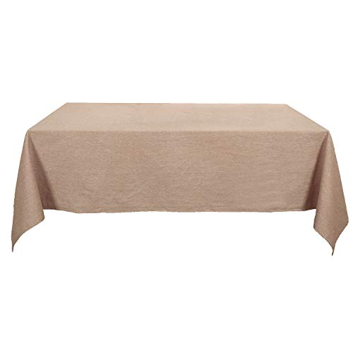 Deconovo Nappe Carree Anti Tache Impermeable en Coton pour Table 130x130cm Marron