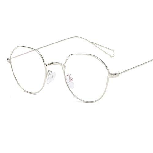 Shiduoli Geistige Brillen Brillenlose Brillen Brillenglas Brillen für Männer Frauen (Color : Silver)