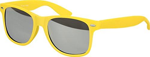 Balinco Hochwertige Nerd Sonnenbrille Rubber im Wayfarer Stil Retro Vintage Unisex Brille mit Federscharnier - 96 verschiedene Farben/Modelle wählbar (Gelb - Silber verspiegelt)