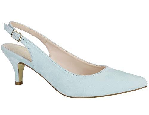 Kitten High Heel (MaxMuxun Damen Klassische Slingback Schnalle Riemchen Pumps Elegant High Heel Pumps Blaues Licht Größe 39 EU)