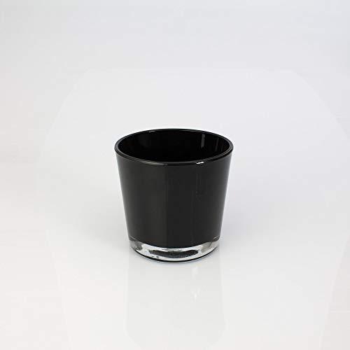 INNA Glas Set 2 x Kleine Glasvase/Windlichtglas Alena, schwarz, 10,5cm, Ø11,5cm - Blumentopf/Tisch Glasvase