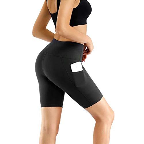 HMIYA Damen Fitness Shorts Sport Leggings Yoga Sporthose Kurze Yogahose Workout Tights Hohe Taille mit Taschen(Shorts-Schwarz,XL)