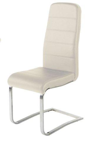 Produktabbildung von SAM® Stuhl Bullet 32 in creme Sparset Freischwinger Stuhl chromfarbene Füße ergonomisch geformte Rückenlehne