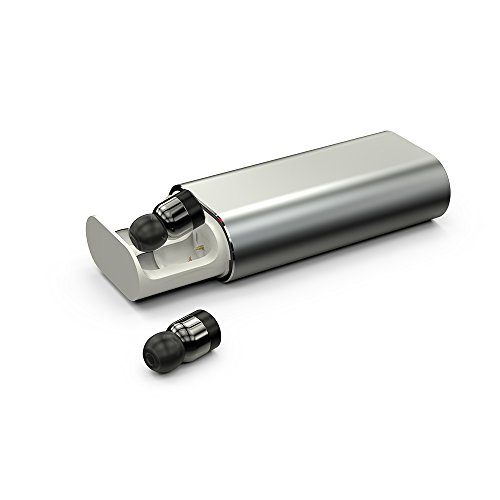 LKJCZ Wireless Mini Bluetooth Headset, T10 Bluetooth V4.1 Real Mini Stereo Wireless Headset mit Mikrofon und Tragbaren Ladegerät Box Für iPhone und Android (Silber),Silver
