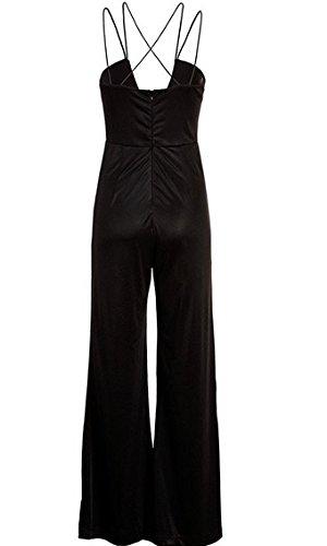 Eleganter langer schwarzer Damen Overall Einteiler Romper Jumpsuit Schwarz