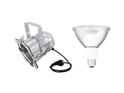 showking - PAR Spot 230V / 15W, Sockel E-27, Silber, fertig verkabelt mit Leuchtmittel SMD LED, 2700K warmweiß - PAR38 Strahler Spot