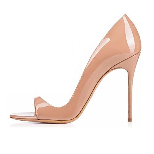 EDEFS- Escarpins Femme - Chaussures à talons aiguilles - Sexy Bout Ouvert - Cuir Brillant Synthétique - Plusieurs coloris Beige