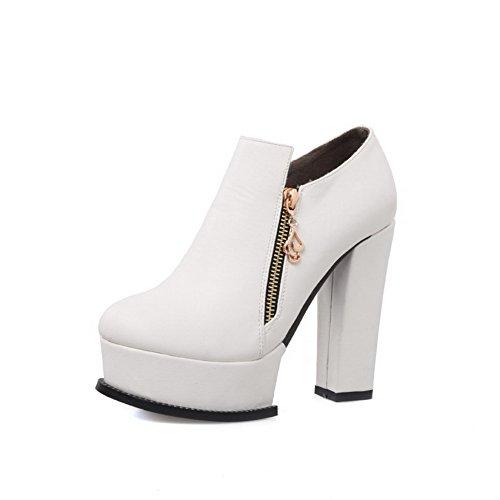 VogueZone009 Damen Blend-Materialien Reißverschluss Knöchel Hohe Hoher Absatz Stiefel, Weiß, 39