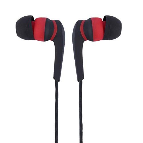 wAddhFC Heavy Bass Stereo Musik 3,5 mm In-Ear Headset Kopfhörer mit Mic Line Control für Sport Laufen Yoga Black+Red
