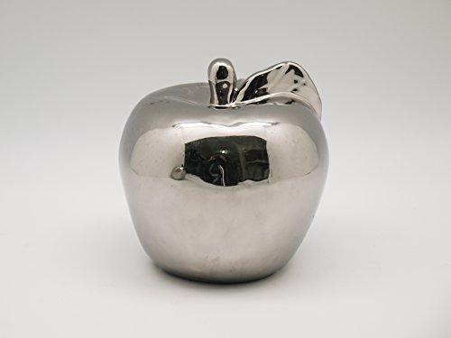 ecosoul Weihnachtsdeko Apfel rund Silber Herbstdeko (12 cm)