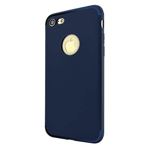 iPhone 8 Plus Hülle, Fraelc [Reine Farbe Serie] Schutzhülle Ultradünn Weich Flexibel Silikon TPU Bumper Cover Kratzfest Handyhülle Taschen für Apple iPhone 7 Plus / iPhone 8 Plus (5,5 Zoll) - Matt Bla Blau