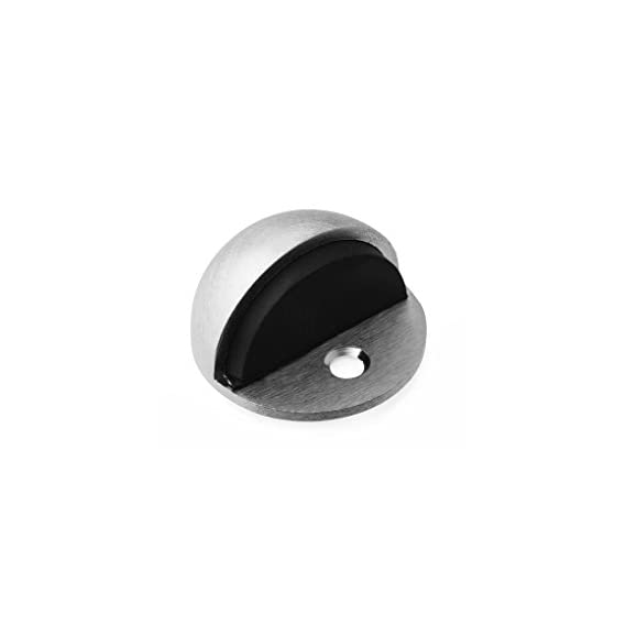 5 Star Shine Half Moon Stainless Steel Door Stopper (Standard Size, Black)