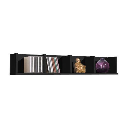 FMD Wandregal mit vier Abteilen, 92x16,5x17cm, Schwarz 4 Regal Bücherregal Schmal