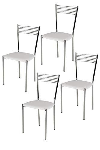 Tommychairs sillas de Design - Set de 4 sillas Elegance de Cocina, Comedor, Bar y Restaurante con Estructura en Acero Cromado y Asiento tapizado en Polipiel, Color Blanco