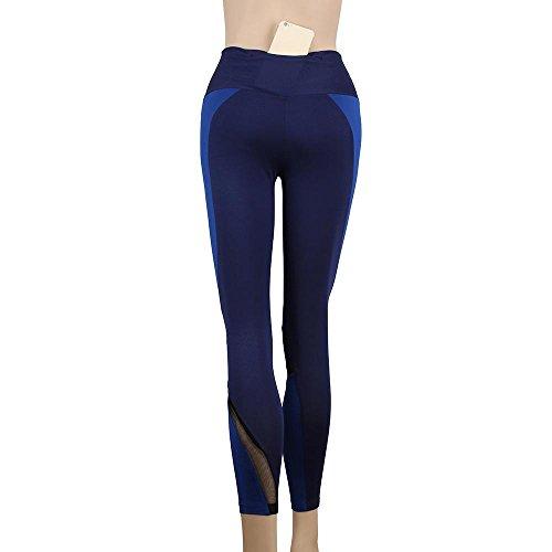 Vovotrade® Femmes sSport Salle de Gym Pantalon de Haute Taille Pantalon de Yoga Elastic Fitness Entraînement Leggings Bleu