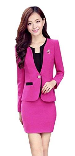 Yinxiang Liying Damen reizvoller dünner Geschäfts Anzug Röcke Kleid Blazer Kombinationen (XL, Rose Red) -