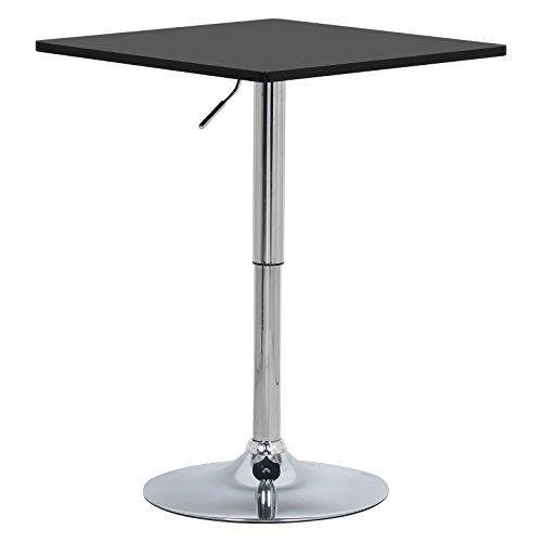 WOLTU BT03sz Bartisch Bistrotisch, Partytisch, Design Tisch mit Trompetenfuß, drehbare Tischplatte aus Robustem MDF, höhenverstellbar, Dekor, Schwarz