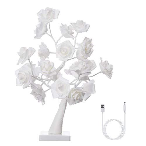 Efgs led string lights bright tree led rose lampada 24 luci fiori lampada da tavolo usb cable lights rami decor camera da letto ufficio 45 centimetri bianco