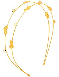 Sanjog Little Hearts Golden Embellished Stone Studded Hairband For Women/Girls
