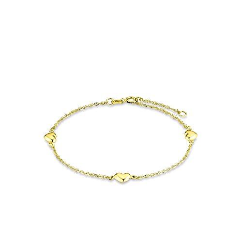 amor Damen-Armband 19cm mit Herz-Anhängern 333 Gelbgold