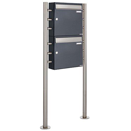 2er Standbriefkasten – 2 fach Briefkastenanlage Design BASIC 381 – Briefkasten Manufaktur Lippe (2 Parteien, senkrecht, Edelstahl / RAL 7016 anthrazitgrau feinstruktur matt) - 2