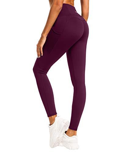 QUEENIEKE Damen Yoga Leggings Power Flex Mesh Mittlere Taille 3 Handytasche Gym Laufhose Farbe Dunkelrosa rot Größe S(4/6)