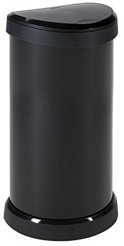 Curver  One Touch 176455- Recipiente de plástic, 40 L, color negro con efecto metálico