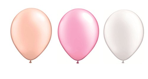 DeCoArt... SET PREIS 60 Latexballon Luftballons pastell perl pfirsich, perl rosa und perl weiß ca. 28 cm Durchmesser und 60 Ballonverschlüsse weiß Polyband sowie ein weißes Aufblasventil sowie ein DeCoArt...Infoblatt