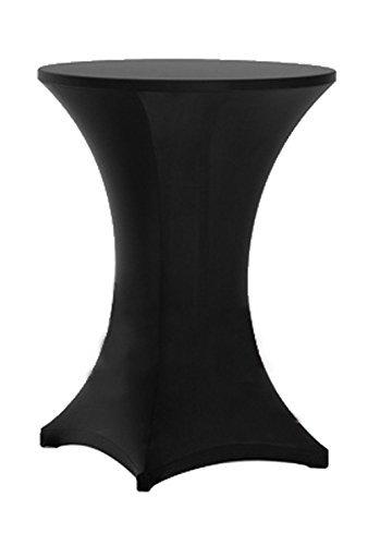 awillhome highboy Cocktail ausgestattet Spandex Stretch Tisch Husse Tischdecke, Bistro Tisch, Poser (Person), Tischdecke, Aufrechtes 4Beine, Textil, schwarz, 24inx43in high