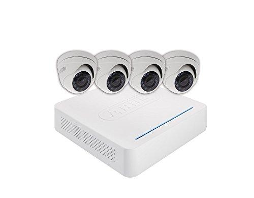 ABUS Videoberwachungsset Analog Digitalrekorder + 4 Auen-Domekameras (Art-Nr tvvr33418 8-Kanal HD Echtzeit Compact CCTV DVR mit 4 Dome Outdoor Kameras und 1 TB HDD - Weiß, 12 V Hdd-echtzeit-dvr