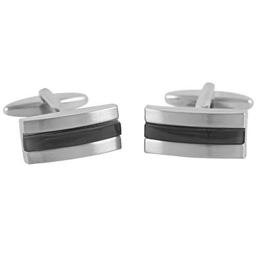 Lindenmann Cufflinks/Cuff Buttons, Silvery with Cats-Eye Grey, Gift Box, 10108