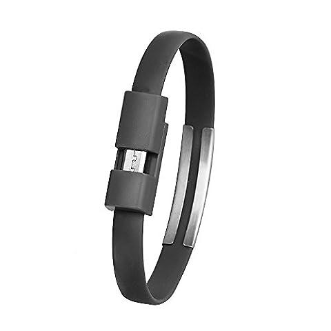 Bracelet câble micro USB, Huhu83322cm High Speed durable Android chargeur de synchronisation de données micro USB câble cordon pour smartphones Samsung Galaxy, Sony, moto, HTC, Nokia et autres téléphone Android