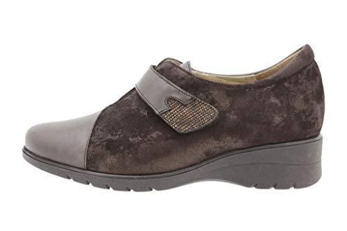 Zapato Cómodo Mujer Zapato Velcro Piel Caoba 9952
