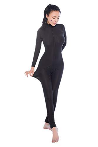 Nylon Spandex Kostüm - ALIXIN-CP005 Damen Einteiler Ganzkörperanzug Hautstrumpfhosen und Einteiler Dancewear Ganzanzug Body Front Zip Spandex Body Nachtclub Kostüm,Reißverschluss Langarm Geöffneter Schritt Lingerie Overall