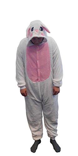 GW Handels UG Flannel Kostüm Hase Damen Herren Kinder Karnevalskostüm Faschingskostüm Verkleidung Fleece Overall Erwachsene Größe ()