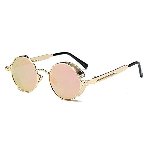 AMZTM Kleine Rund Verspiegelt Linsen Polarisiert Punk Sonnenbrille für Damen und Herren (Golden Rahmen und Rosa Linse, 48)