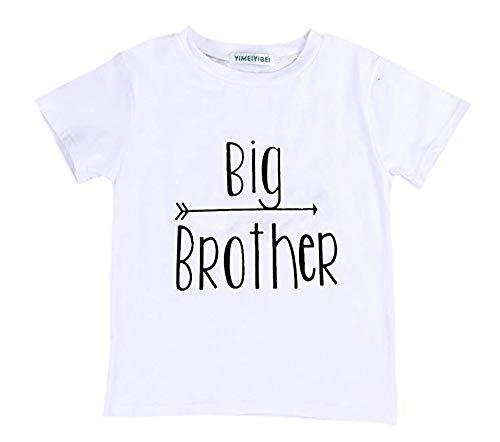 Bravoy Baby Unisex Lustig Body mit Spruch Little Brother Kurzarm Babybody Shirt für Jungen Mädchen (Shirt, 4-5 Jahre)