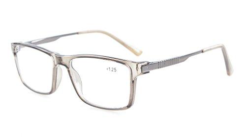 Eyekepper computadora lectores elegante Crystal Clear Vision calidad TR90 Frame bisagras de resorte Mens Womens ordenador gafas de lectura Marco gris +0.75